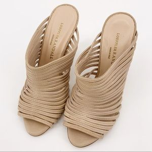 Loeffler Randall Nude Rue Leather Strappy Sandals